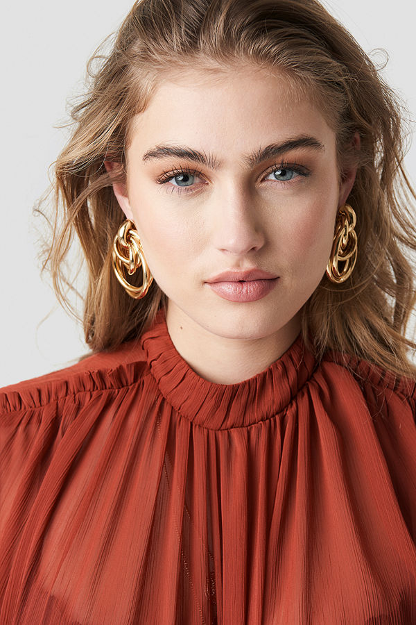 NA-KD Accessories smycke Big Connected Ring Earrings guld