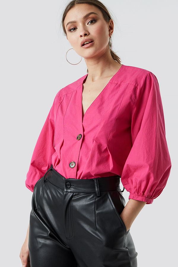 NA-KD Puff Sleeve Button Up Blouse rosa