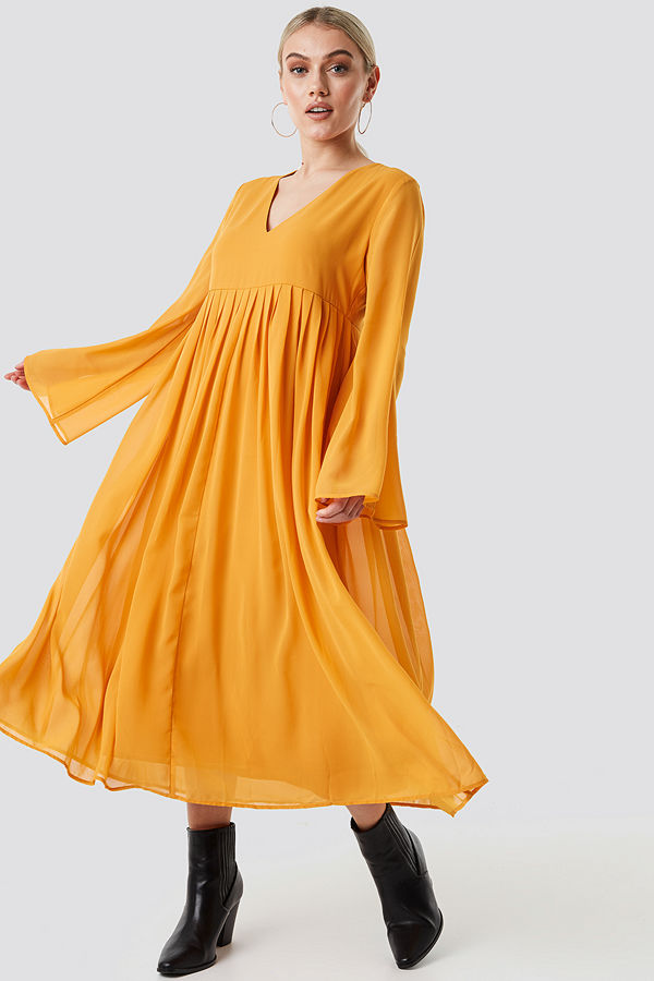 NA-KD Boho Wide Sleeve Flowy Chiffon Dress gul