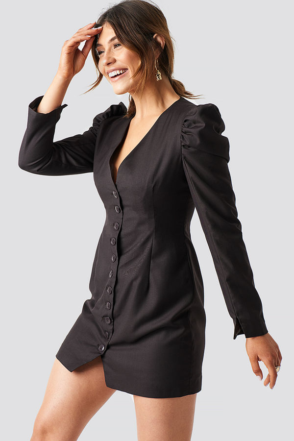 Milena Karl x NA-KD Puff Mini Blazer Dress brun