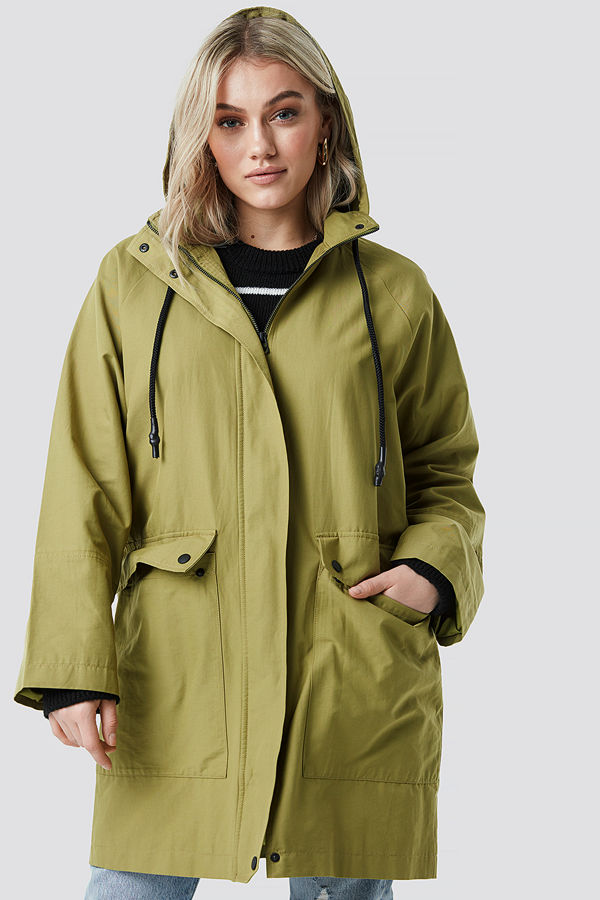 NA-KD Lightweight Hooded Parka grön