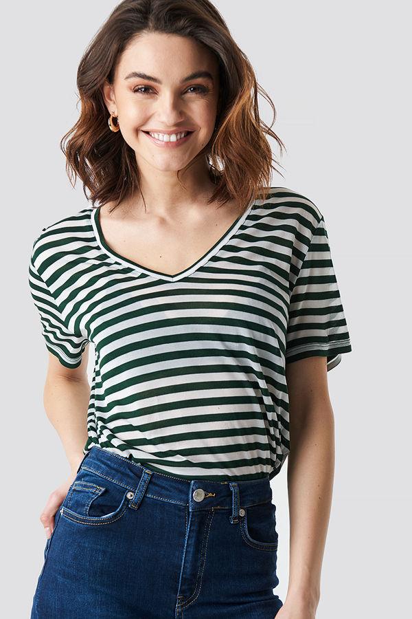 NA-KD V-Neck Striped T-Shirt multicolor