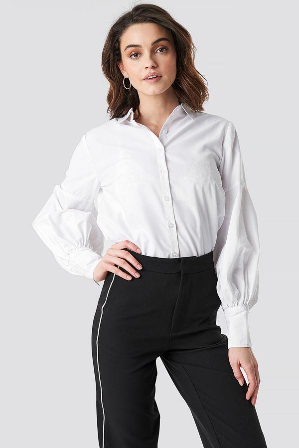 NA-KD Boho Large Cuff Wide Sleeve Shirt vit