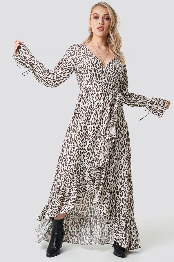 Kae Sutherland x NA-KD Leopard Maxi Dress multicolor