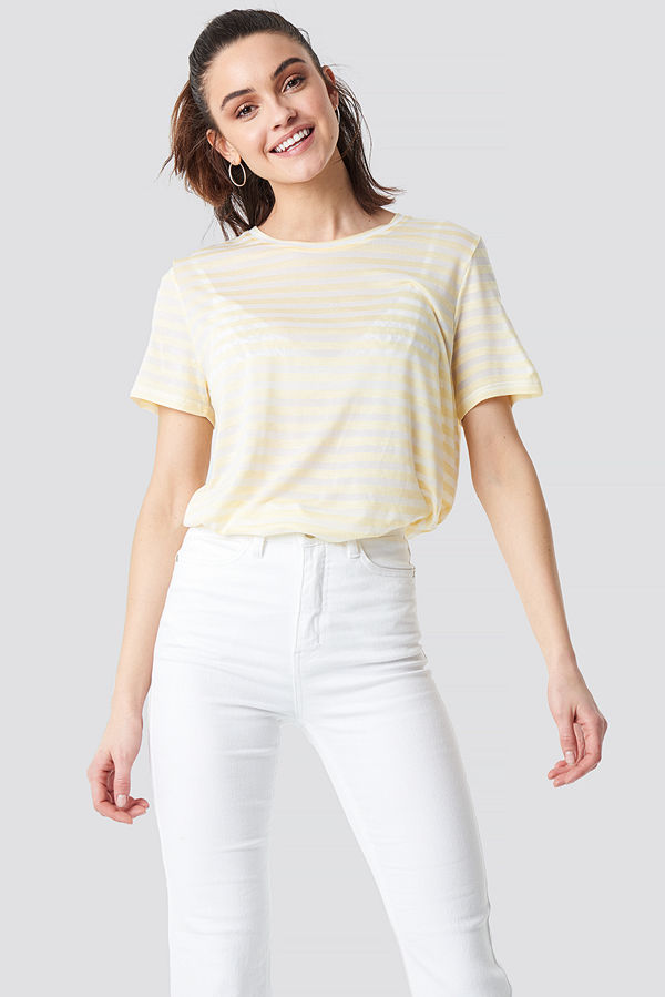 NA-KD Round Neck Striped T-Shirt multicolor gul