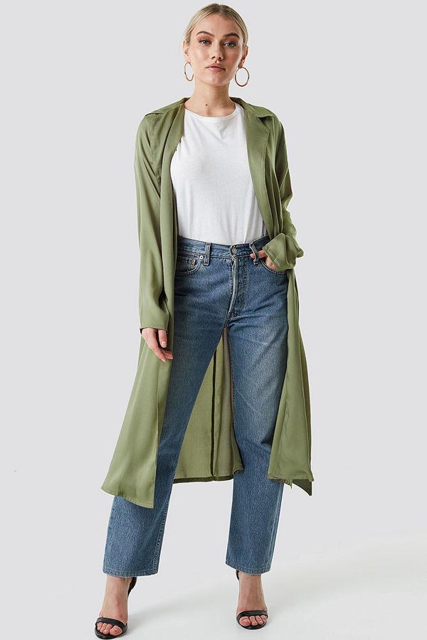 NA-KD Satin Duster Coat grön