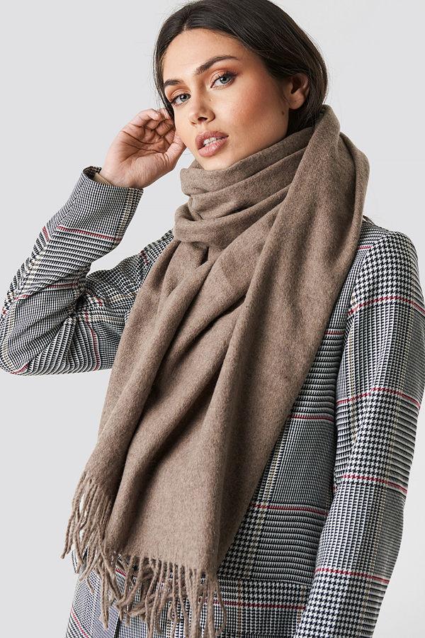 NA-KD Accessories Light Wool Blend Scarf brun