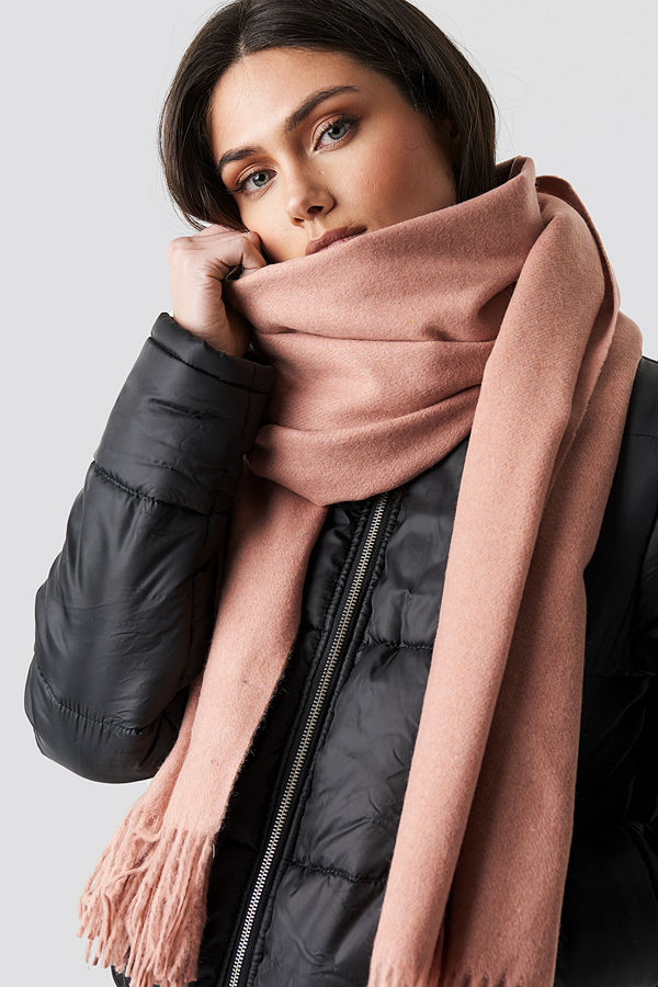 NA-KD Accessories Light Wool Blend Scarf rosa