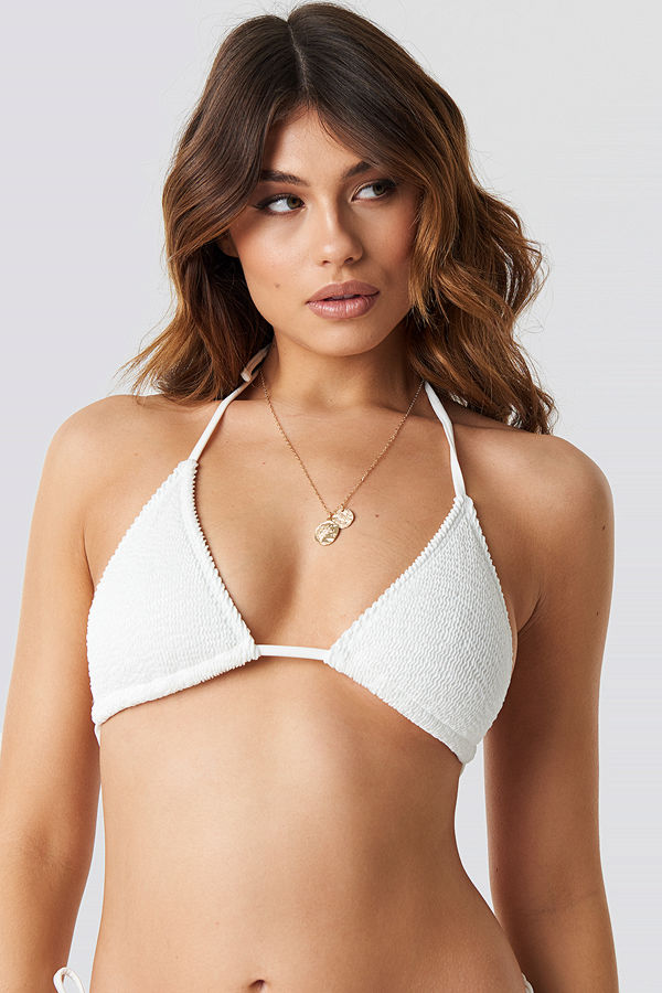 NA-KD Swimwear Smocked Triangle Bikini Top vit