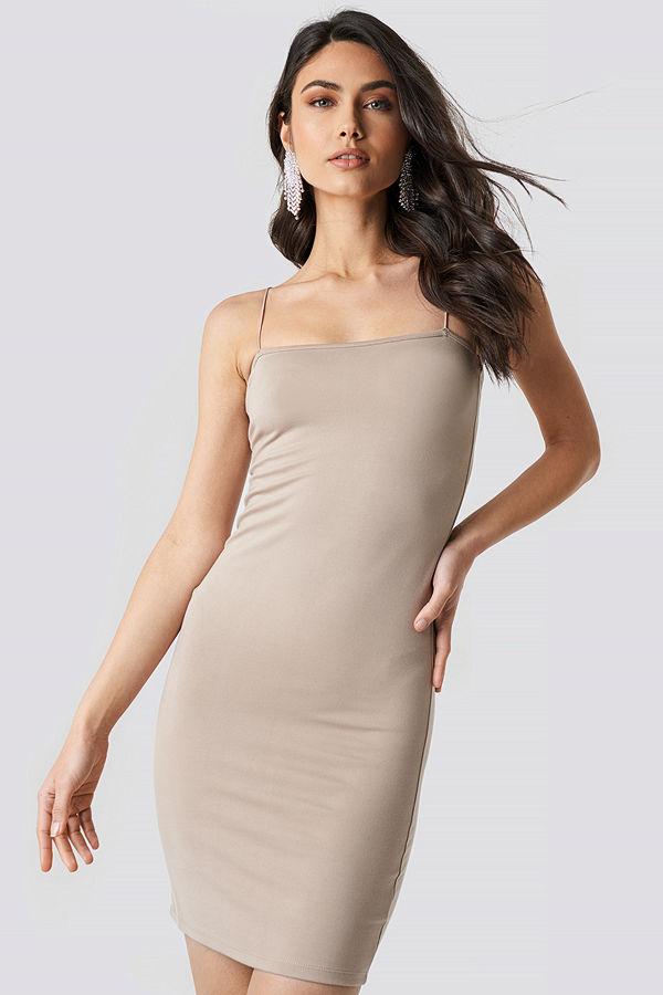 NA-KD Spaghetti Strap Dress beige