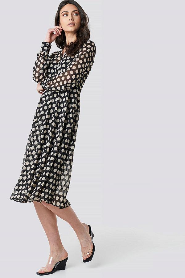 NA-KD Boho Dotted Chiffon Shirt Dress svart