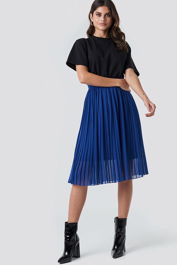 NA-KD Midi Pleated Skirt blå