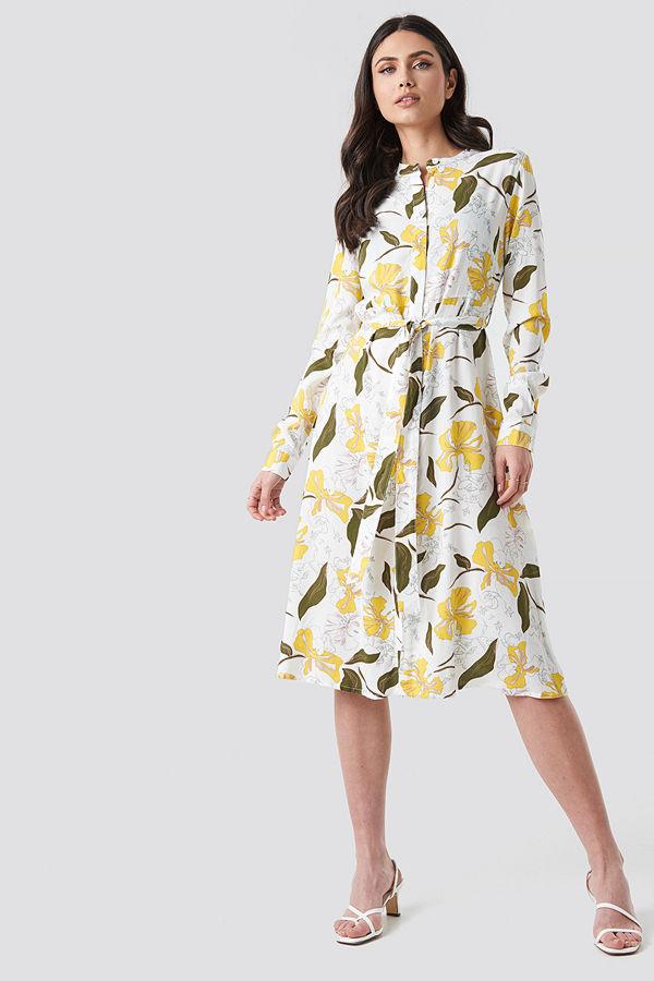 NA-KD Boho Tie Waist Midi Dress multicolor