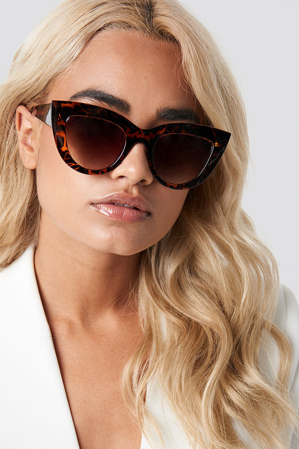 NA-KD Accessories Chunky Pointy Cat Eye Sunglasses brun