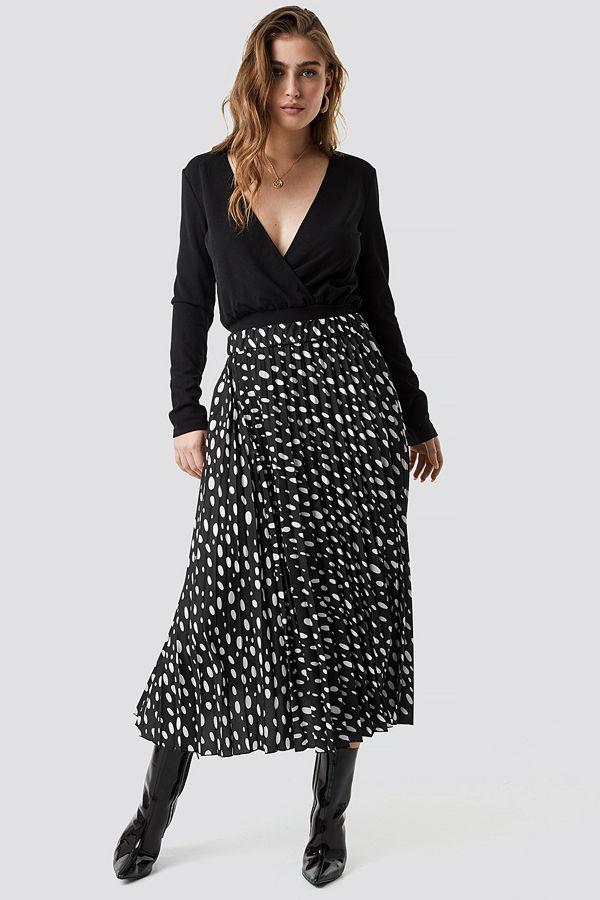 NA-KD Dot Print Pleated Midi Skirt svart