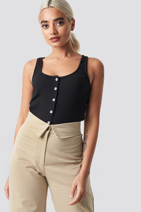 NA-KD Ribbed Cropped Button Top svart