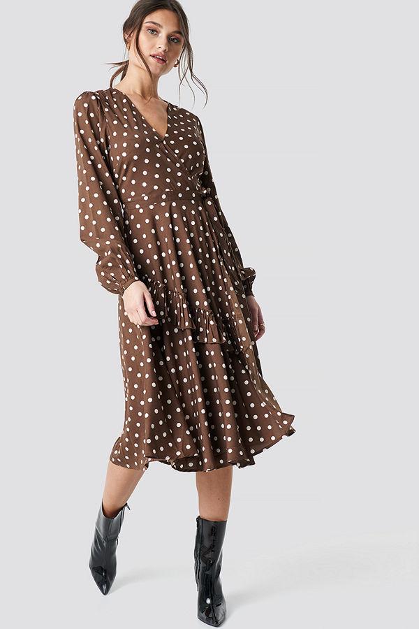 NA-KD Boho Wrapped Dot Midi Dress brun