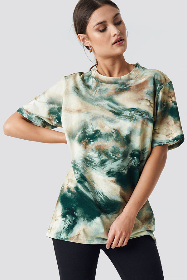NA-KD Trend Aquarelle Printed Unisex Tee grön