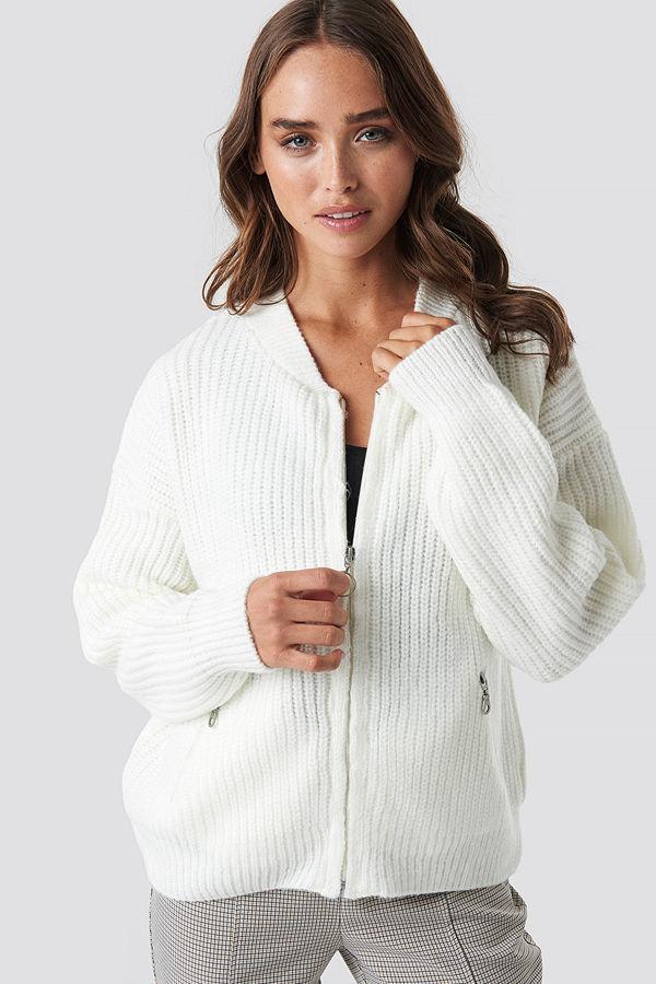 NA-KD Trend Zipper Cardigan vit