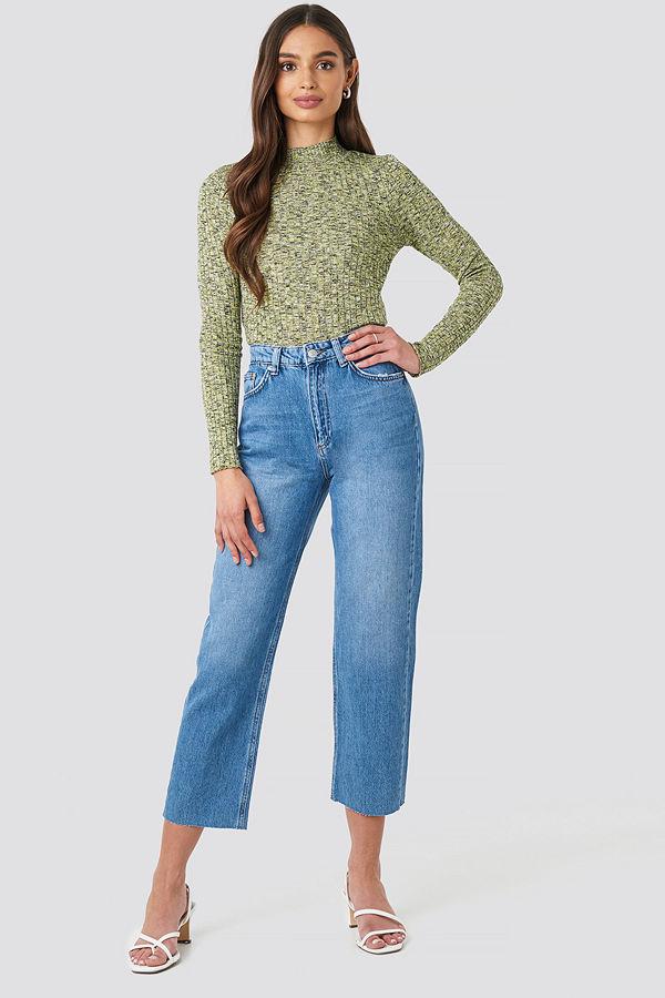 NA-KD Raw Hem Straight Jeans blå