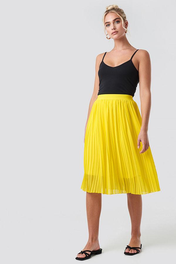 NA-KD Midi Pleated Skirt gul