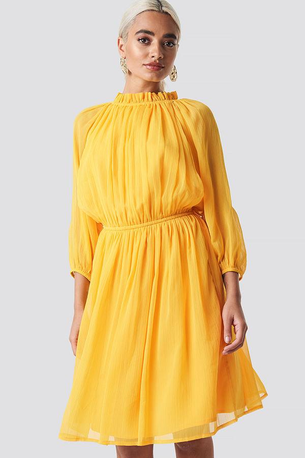 NA-KD Boho Plisserad Klänning Med Elastisk Midja gul