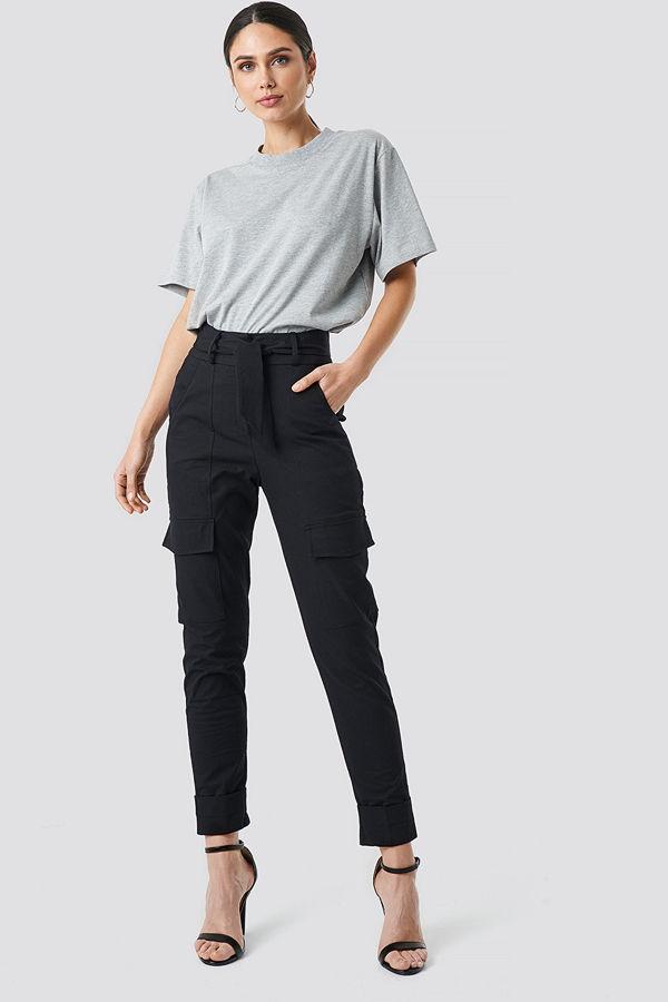 NA-KD Trend svarta byxor Tie Waist Patch Pocket Pants svart