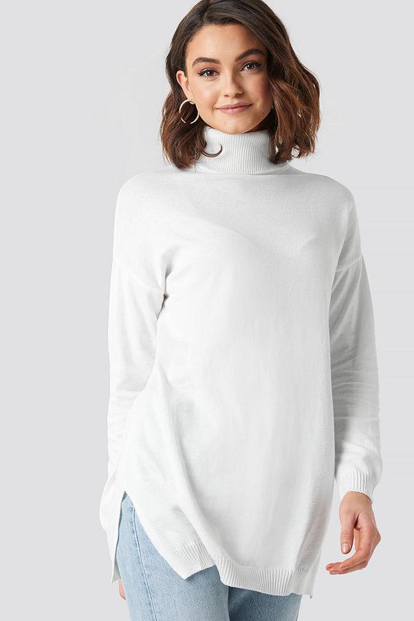 NA-KD Turtle Neck Long Sweater vit