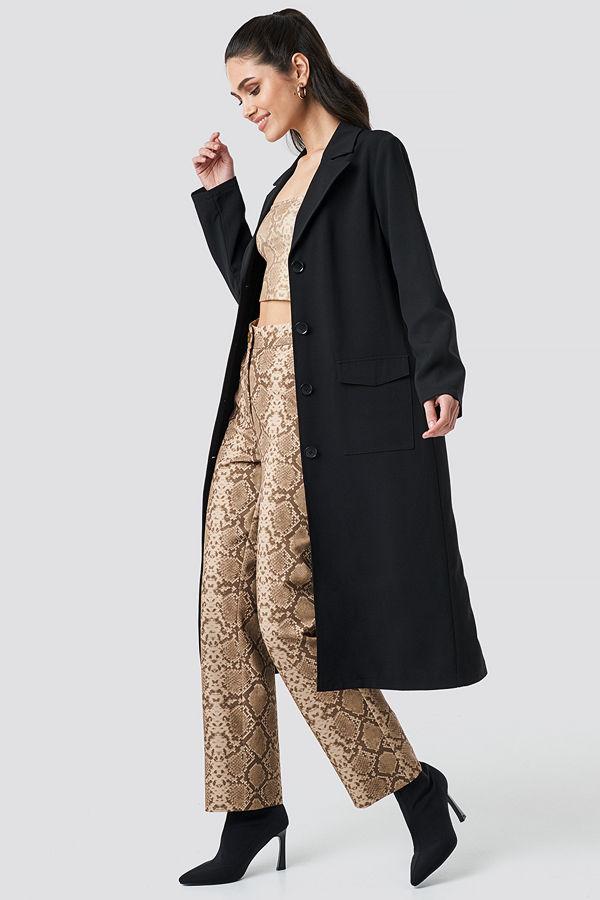 Anna Nooshin x NA-KD Front Button Ankle Coat svart