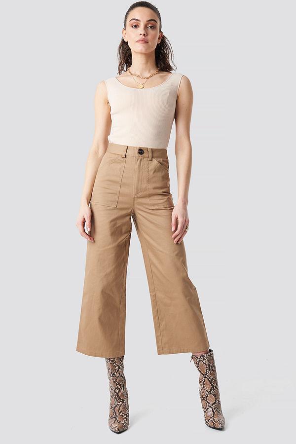 NA-KD Workwear Wide Pants beige byxor