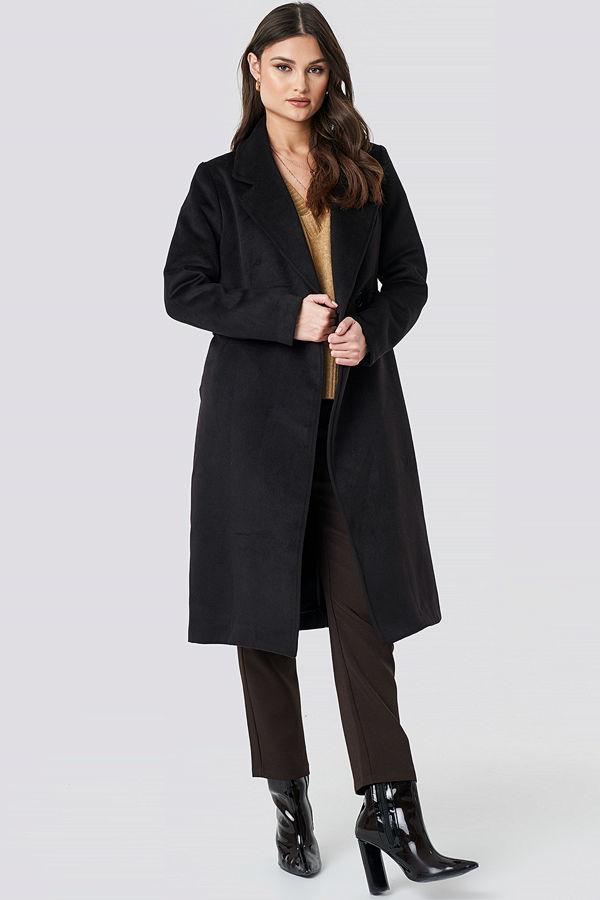 NA-KD Trend Lapel Collar Long Coat svart