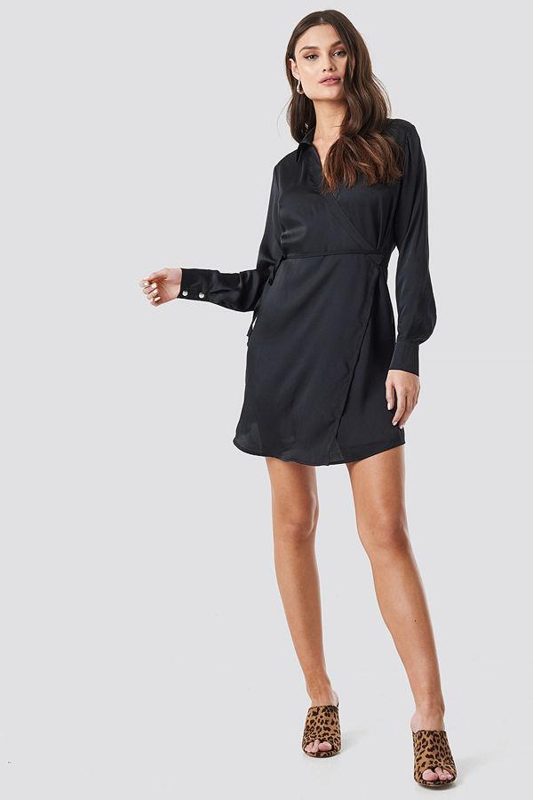 NA-KD Party Tie Waist Wrap Mini Dress svart