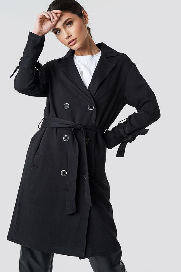 NA-KD Belted Trench Coat svart