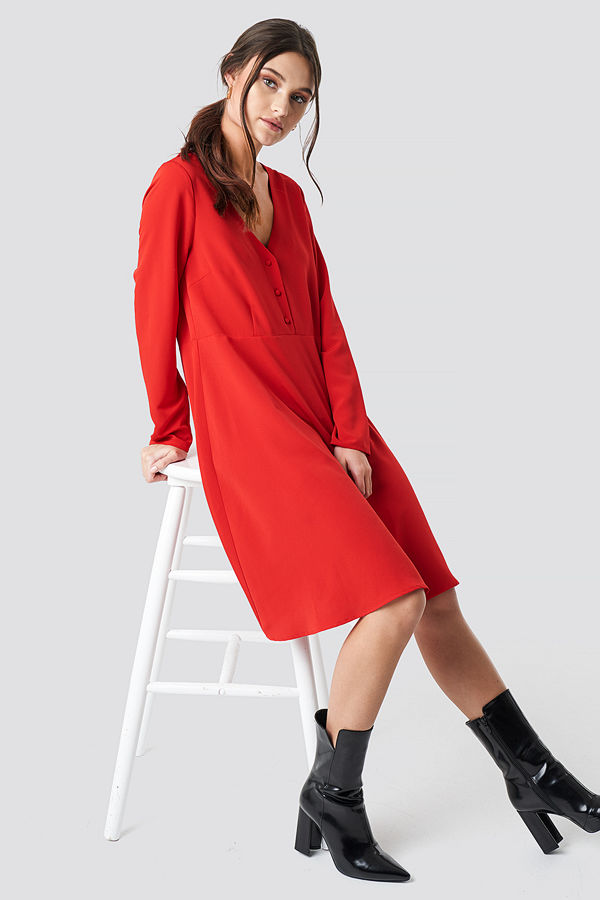 NA-KD Button Up Ls Dress röd