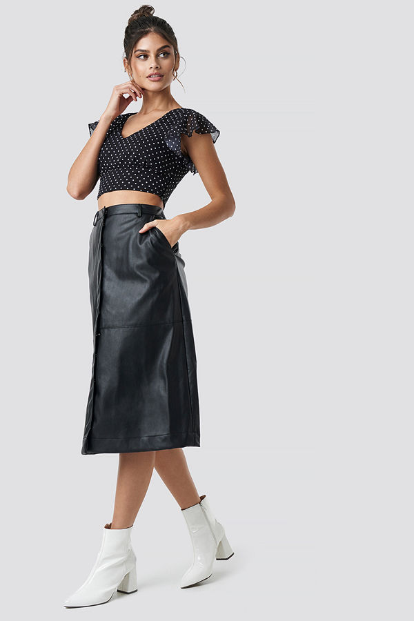 NA-KD Trend PU Midi Skirt svart