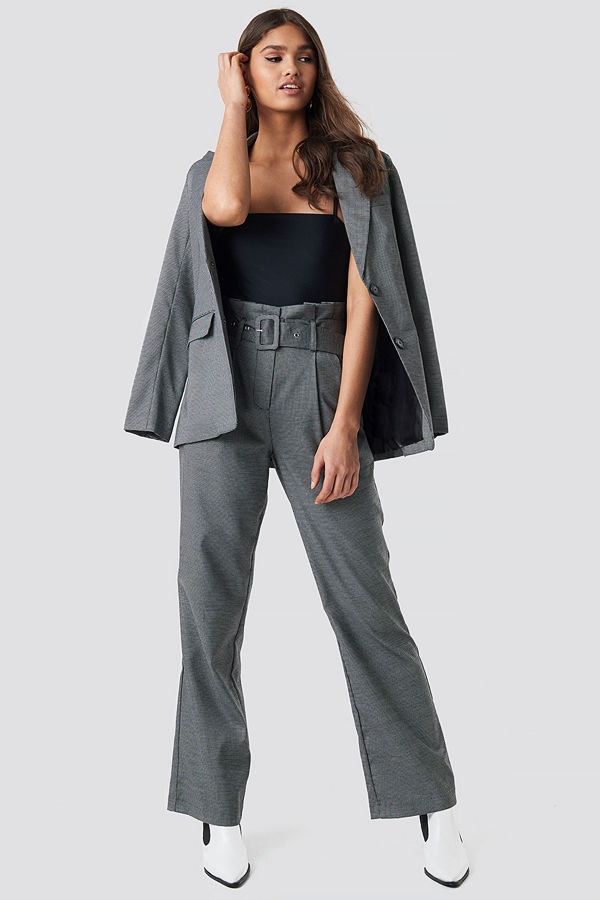 NA-KD Classic Small Check Paperbag Suit Pants grå byxor