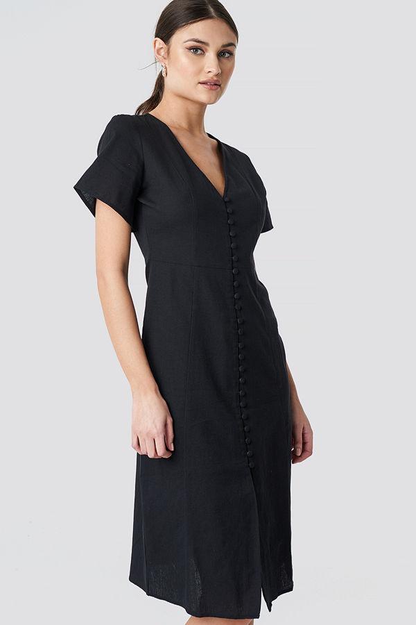 NA-KD Boho Button Front Linen-blend Dress svart