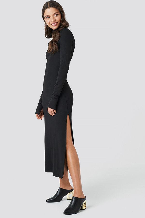 Chloé B x NA-KD Polo Side Slit Midi Dress svart