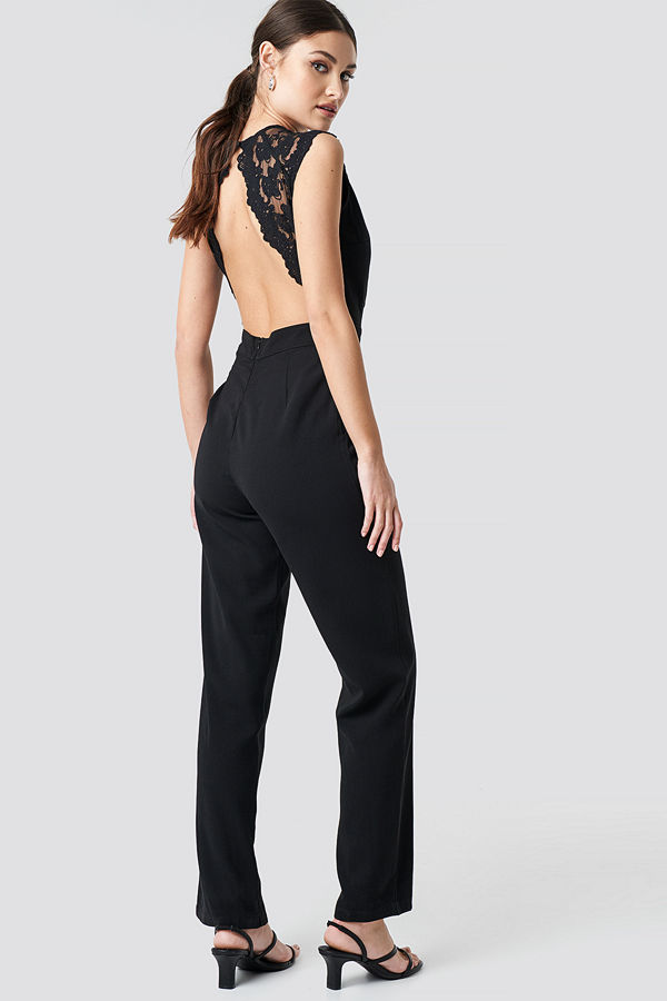 NA-KD Party Open Back Lace Part Jumpsuit svart