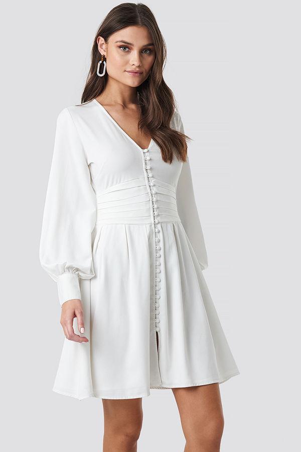 NA-KD Boho Draped Waist Button Up Dress vit