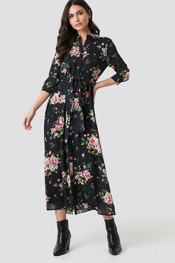 NA-KD Dark Floral Maxi Dress multicolor