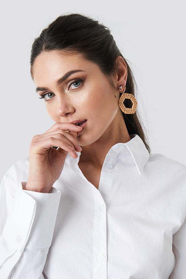 NA-KD Accessories smycke Straw Braided Hexagon Earrings brun