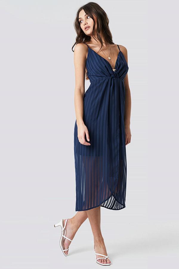 NA-KD Party Twist Front Strap Dress blå