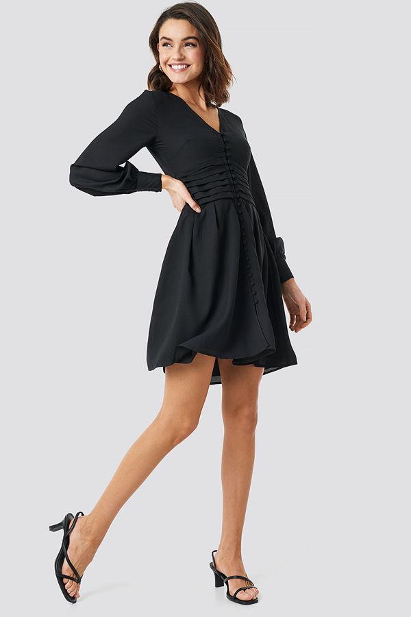 NA-KD Boho Draped Waist Button Up Dress svart