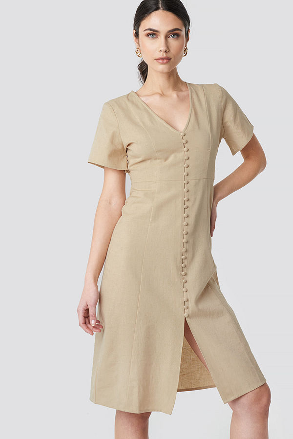 NA-KD Boho Button Front Linen-blend Dress beige