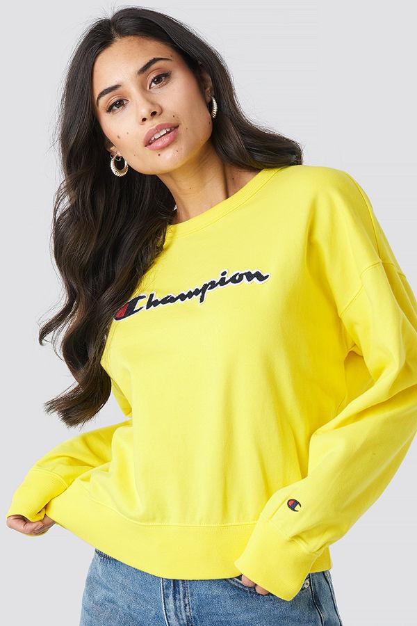 Champion Crewneck Logo Sweatshirt gul