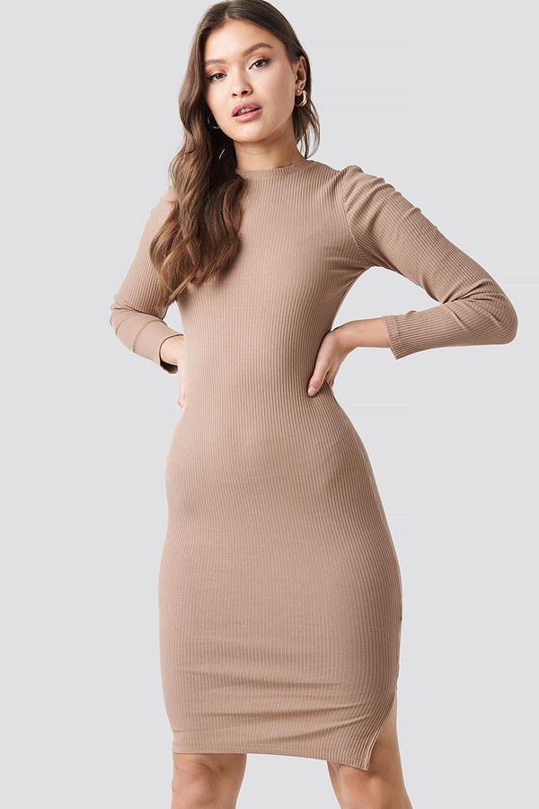 NA-KD Basic Ribbed Long Sleeve Dress beige