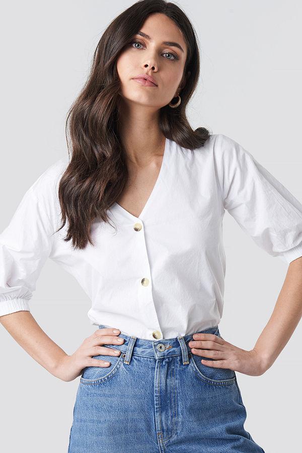 NA-KD Trend Button Short Sleeve Blouse vit