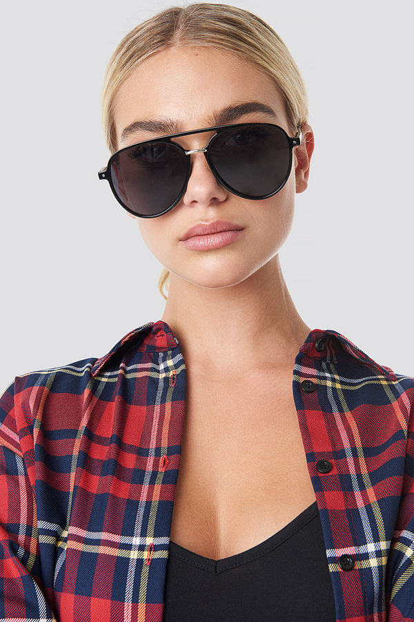 NA-KD Accessories Big Pilot Sunglasses svart