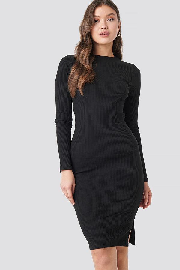 NA-KD Basic Ribbed Long Sleeve Dress svart